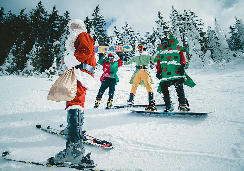 Healthy Holidays Employee Engagement: goofy Christmas characters on skis